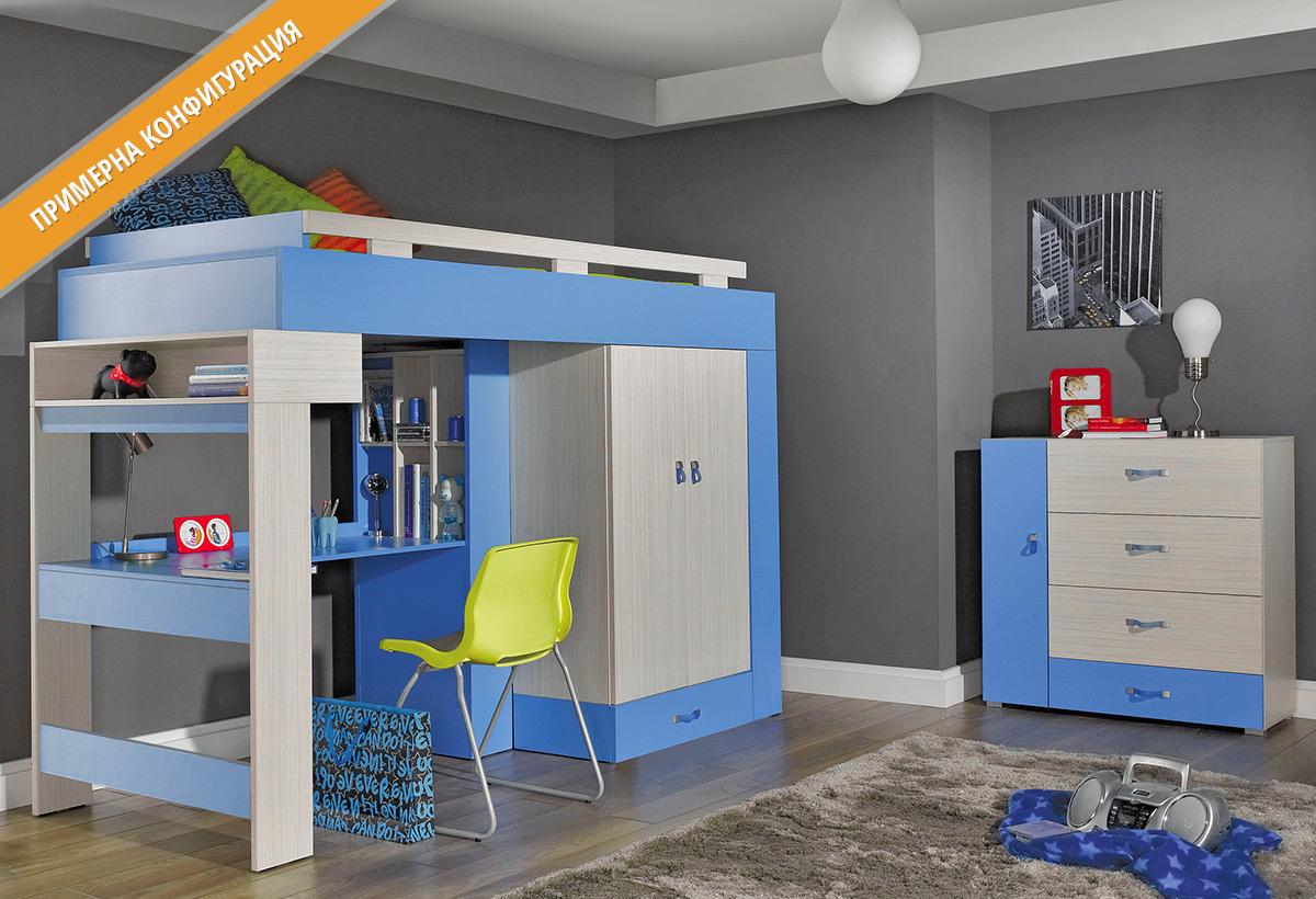 Модули за детско обзавеждане КОМИ в цветове Ясен коми и Син