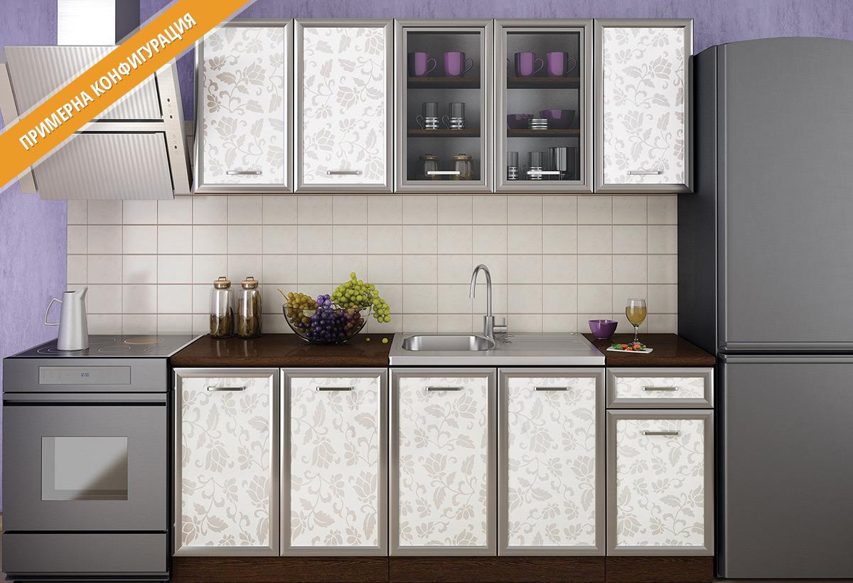 Кухненски шкафове и модули за модулна система - кухни Регал в цветове лице - флауърс гланц   + МДФ профил Инокс , Корпус - венге.