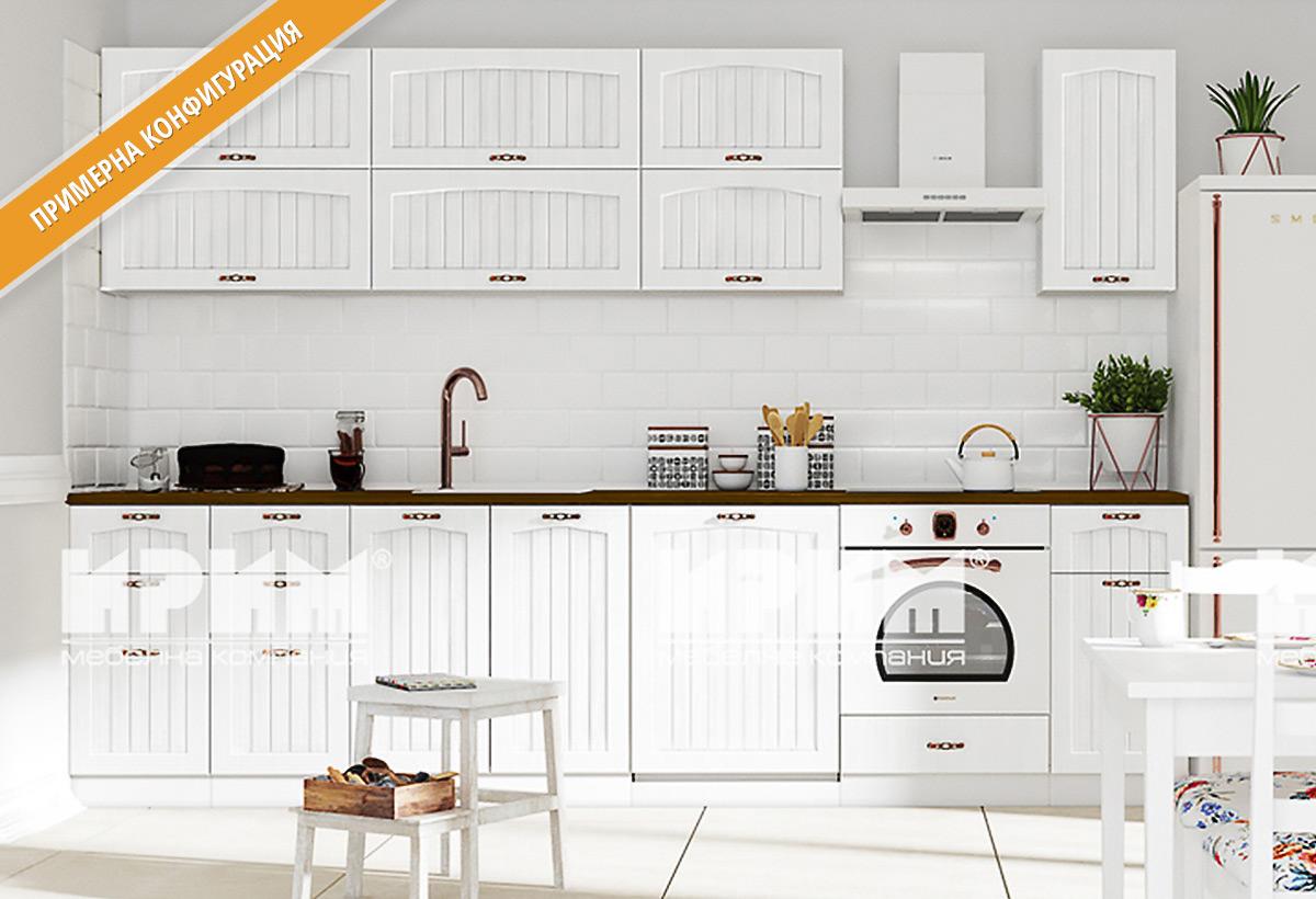 Кухненски шкафове и модули за модулна система Сити - MDF Бяло-фладер + Бяло-гладко