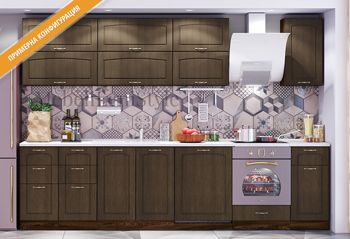 Кухненски шкафове и модули за модулна система - кухни СИТИ МДФ в цветове лице - Венге, Корпус - Венге.