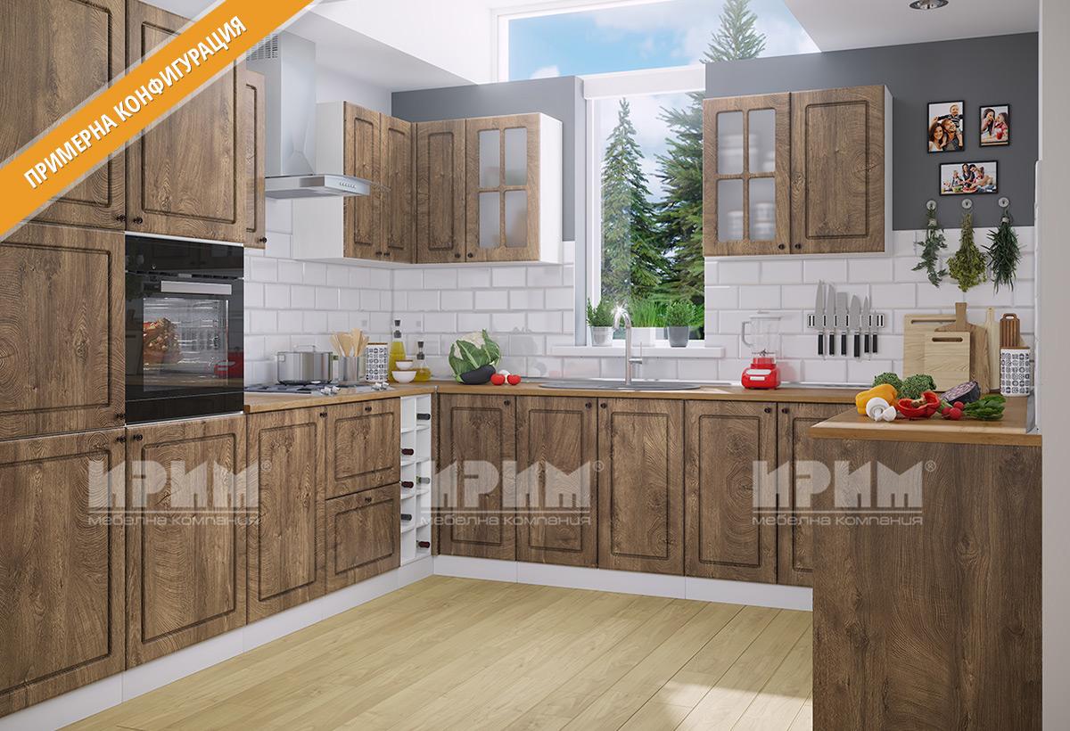 Кухненски шкафове и модули за модулна система - кухни СИТИ - МДФ в цветове лице - Дъб натурал , Корпус - бяло гладко.