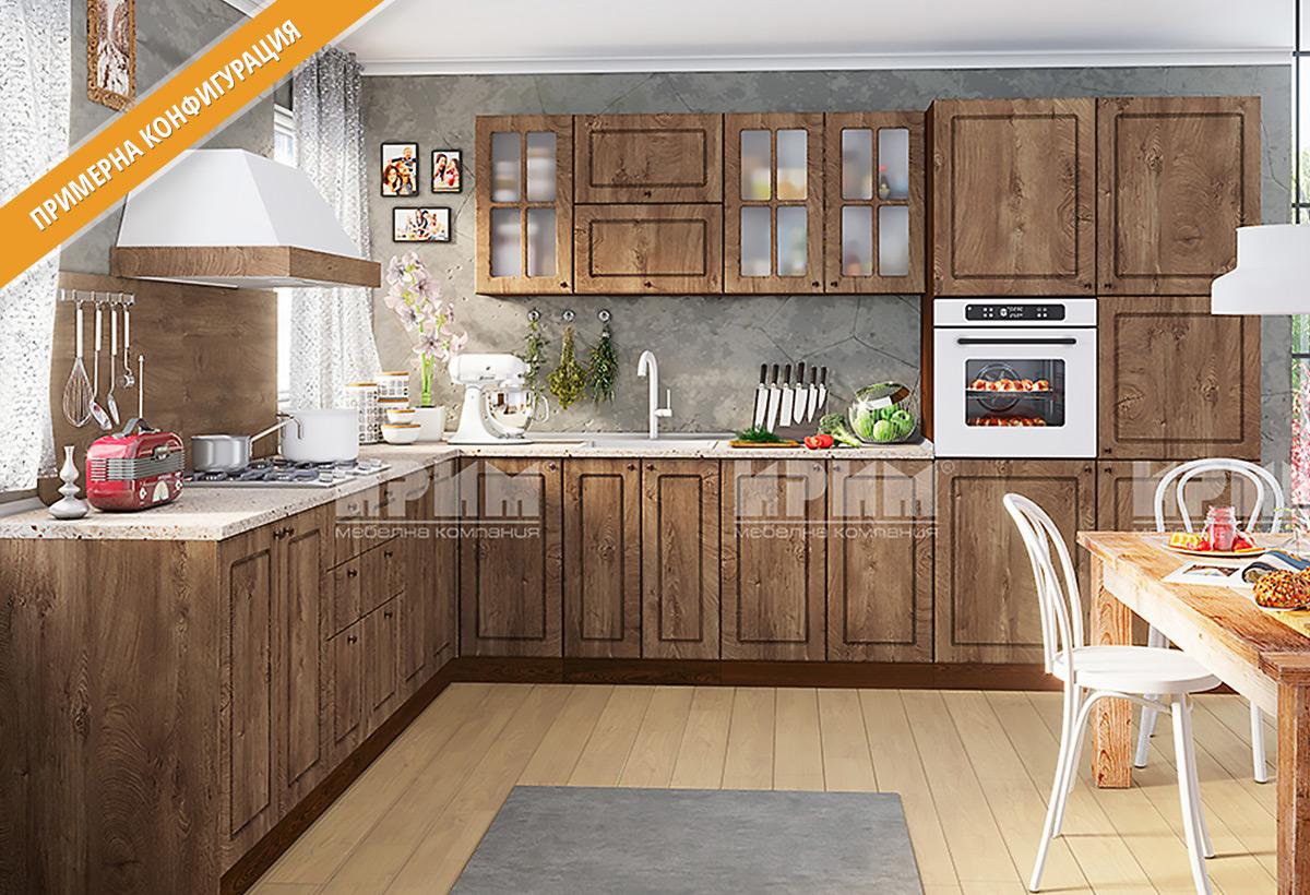 Кухненски шкафове и модули за модулна система - кухни СИТИ - МДФ в цветове лице -  Дъб натурал, Корпус - венге.
