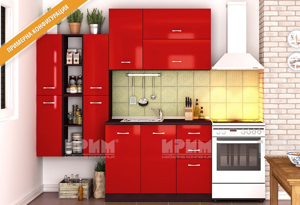 Шкафове за кухня и модули за модулна кухня City в цветовете: лице-червено гладко хайглос и корпус - венге