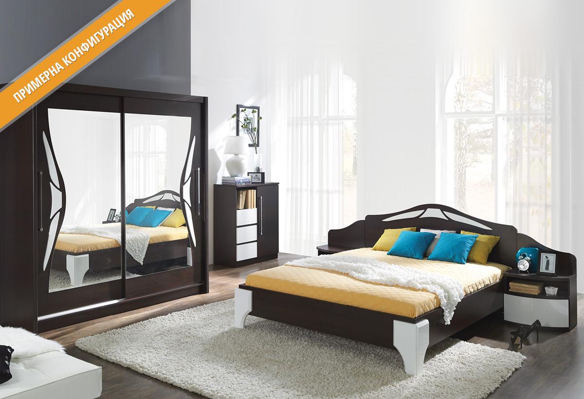 Модули за спално обзавеждане ДОМЕ в цветове Бор ларедо и Бял гланц