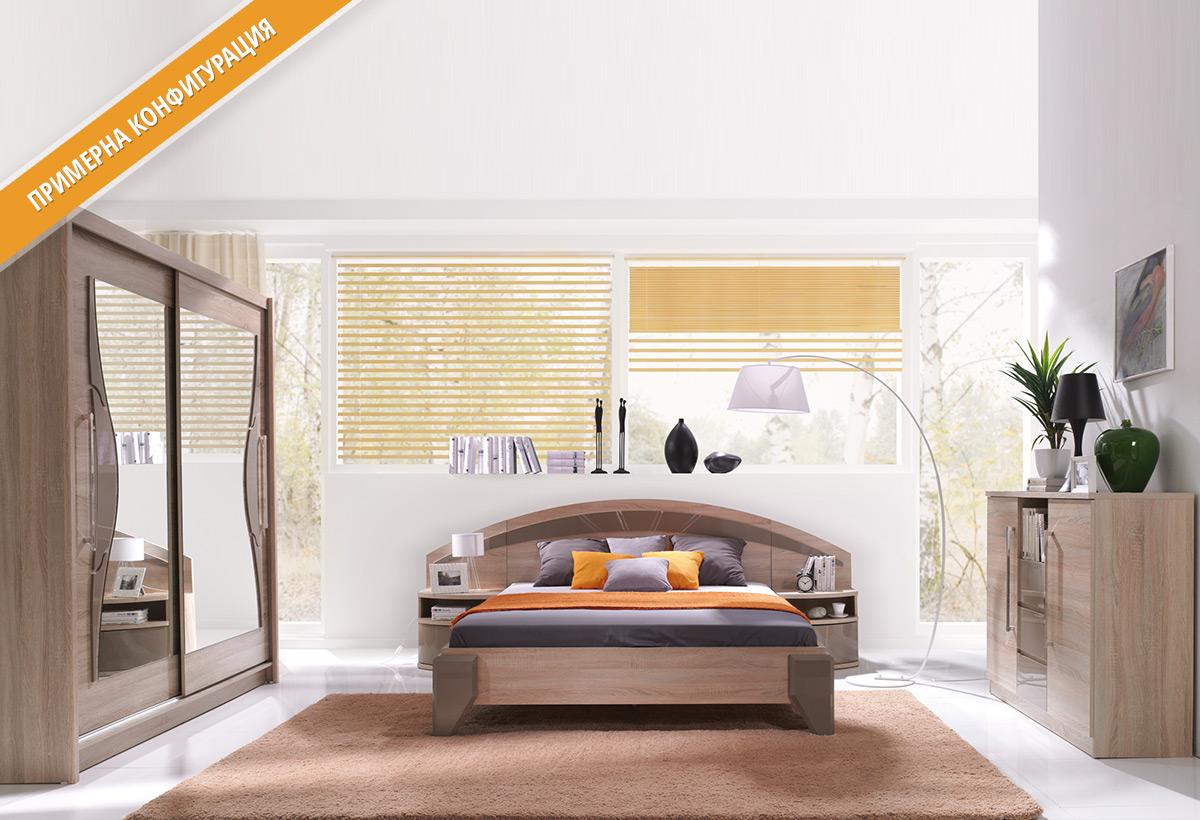 Модули за спално обзавеждане ДОМЕ в цветове Сонома и Капучино гланц