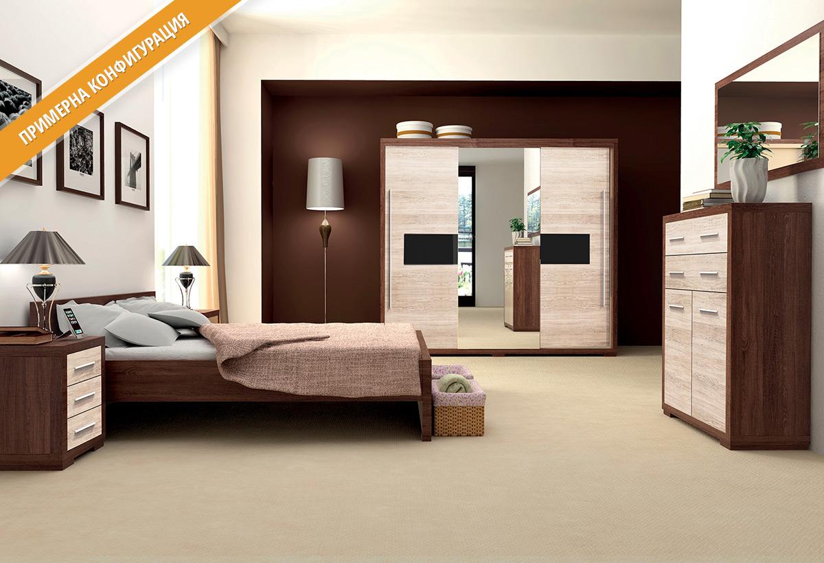 Модули за спално обзавеждане ВЕГАС в цветове Сантана/Тъмна сантана