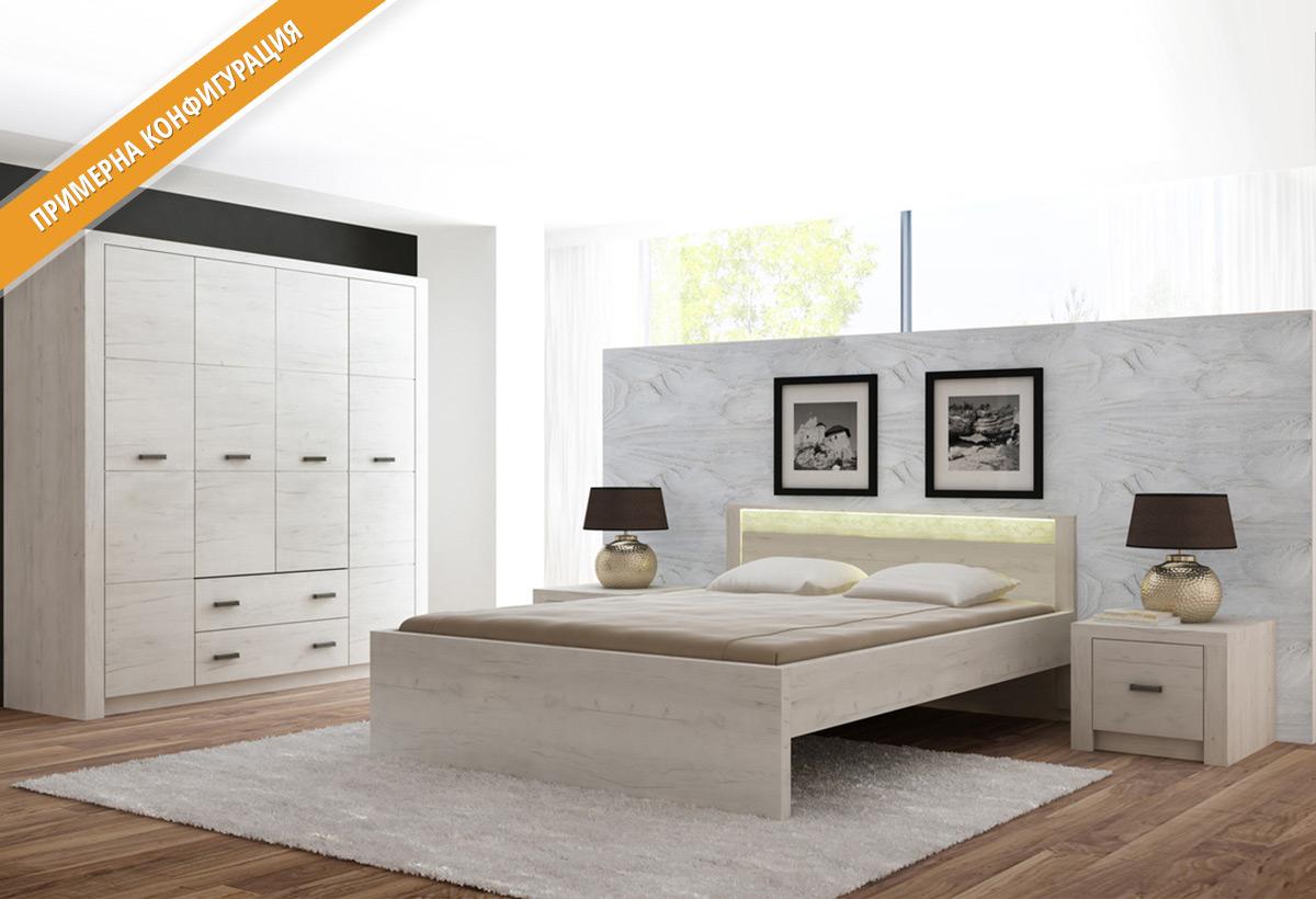 Модули за спално обзавеждане ИНДИАНОПОЛИС в цветове Бял крафт